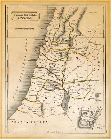 """Ein altes 19. Jahrhundert Karte, gestochen und gedruckt in England im Jahre 1845, der Darstellung alten Palästina ('Antiqua Palestina """", wie es auf der Karte selbst geschrieben hat) zu den Zeiten von Jesus Christus, von Damaskus im Norden bis in das Land südlich des Toten Sea in der so"""
