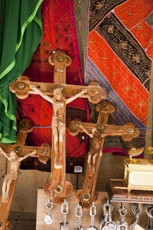 Crosses with Jesus Christ crucified on them at a gift shop close to the Church of the Holy Sepulchre photo