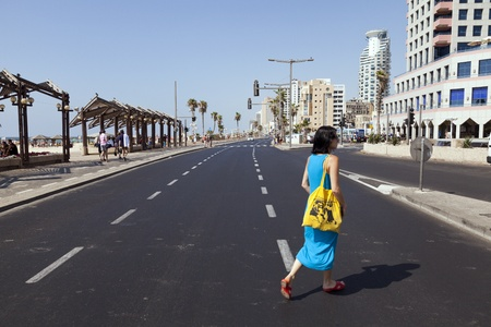 Tel-Aviv, Israel - August 18th, 2012: An adult Caucasian woman in her early 30 Editorial