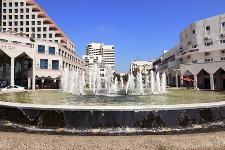 Tel-Aviv, Israel - August 18th, 2012: The fountain that seperates between Alenbi street and the beach in Tel-Aviv.