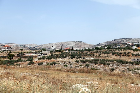 apartheid: A view of the village of Bilin in Palestine. Stock Photo