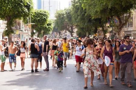 Tel-Aviv, Israel - June 7, 2013: People partying at the annual gay parade in the streets of Tel-Aviv.