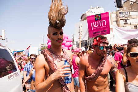 gay parade: Tel-Aviv, Israel - June 7, 2013: People partying at the annual gay parade in the streets of Tel-Aviv.