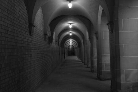 Dark dungeon walkway with lights Stock Photo - 1954147