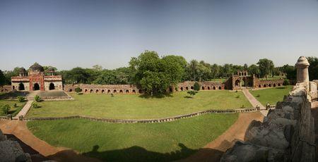 tumb: Humayuns Tumb Garden Panorama India