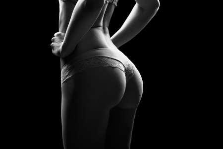 Sexy Frau in Unterwäsche aus Baumwolle mit perfekter curves.Woman mit perfekte Form des schönen Oberschenkel und bottom.Plastic Chirurgie, gesunde Ernährung, Fett zu verlieren, Fettabsaugung und Cellulite-Entfernung Konzept Standard-Bild - 52621820