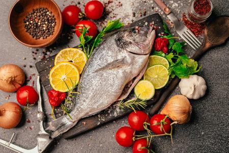 Fresh gilthead sea bream.Local fish market.Fresh seafood.Expensive dorado fish recipe and seasoning.Healthy Mediterranean diet.Sustainable fishing.
