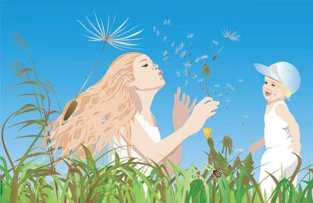 Mom, little-one and the dandelions ; Illustrator 8  EPS Illustration