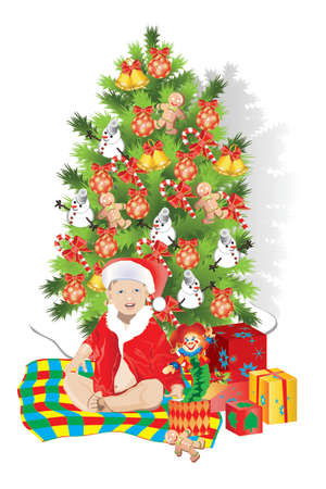 plaything: Christmas fur-tree and child , Illustrator 8  EPS