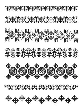 Set of borders, embroidery cross, vector illustration . Illustrator 8  EPS