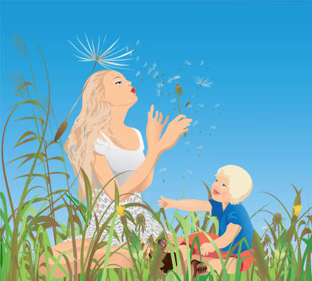 Mom, little-one and the dandelions ; Vector illustration. Illustration