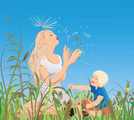 Mom, little-one and the dandelions ; Vector illustration. Illustration