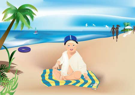 Child on the beach ,Vector illustration