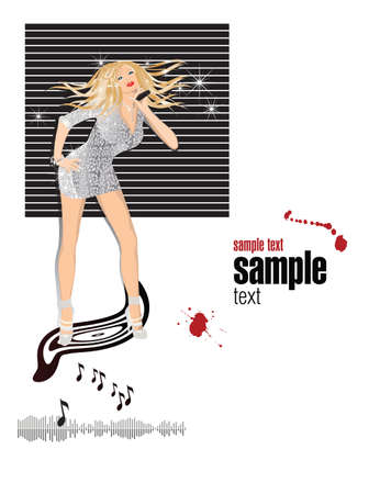 Clubsound party .Singing Girl with a microphone in club, vector illustration .