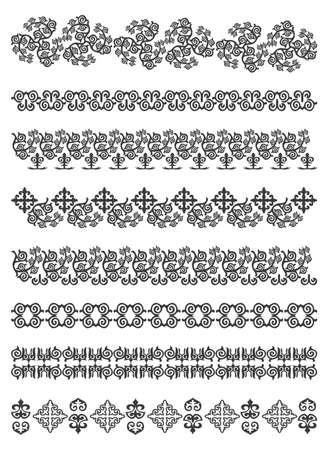 bordados: Conjunto de las fronteras, bordado cruz, ilustraci�n vectorial. Vectores