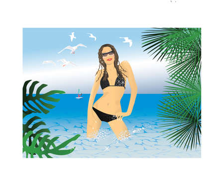 glamur: Glamur bikini girl on a beach. Vector.