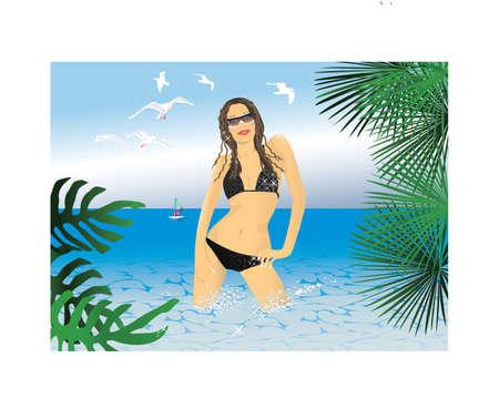 Glamur bikini girl on a beach. Vector.