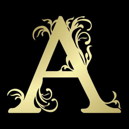 alfabet: Alphabetic letter A, in gold Illustration