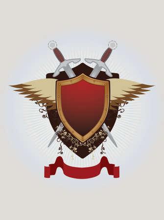 Vintage emblem with shield