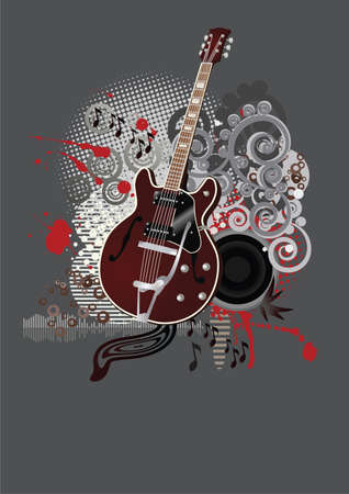Abstract floral grunge guitar,background