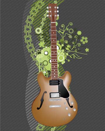 Abstract floral grunge gitaar, achtergrond Stock Illustratie