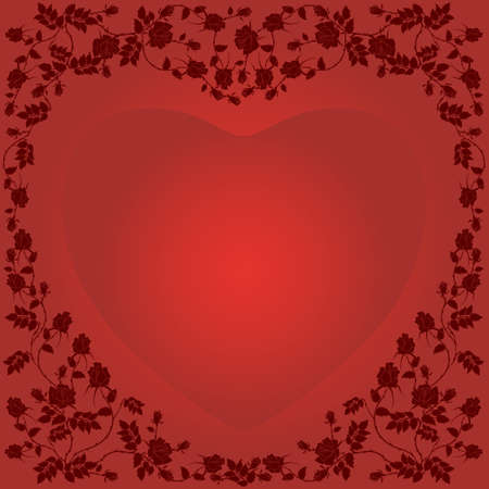 abstract floral heart with place for your text Çizim