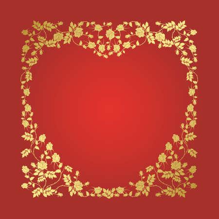 abstract floral hart met plaats voor uw tekst