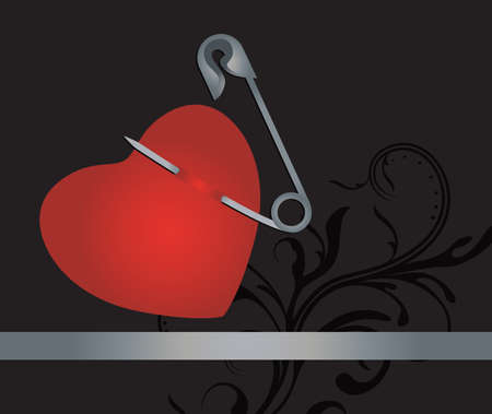 heart with safety pin and with place for your text    Vector
