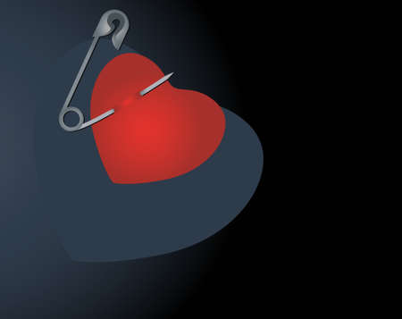 heart with safety pin and with place for your text   heart with safety pin and with place for your text    Vector