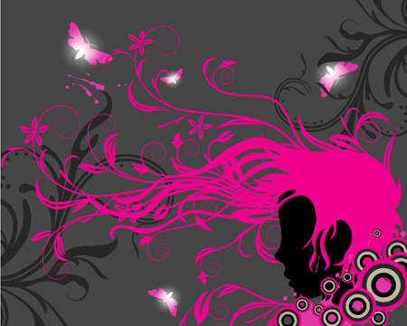 Girl silhouette with floral ornaments and swirls coming out from his hair   Illustration