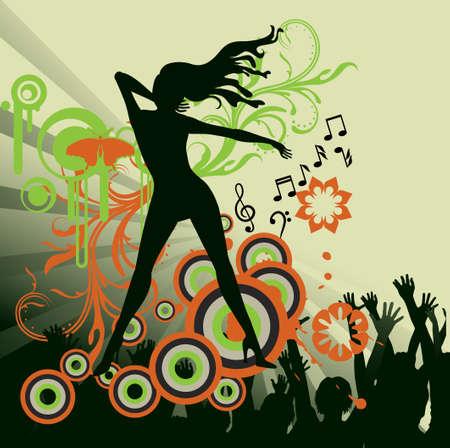 dance music: abstracte dans feest poster  Stock Illustratie