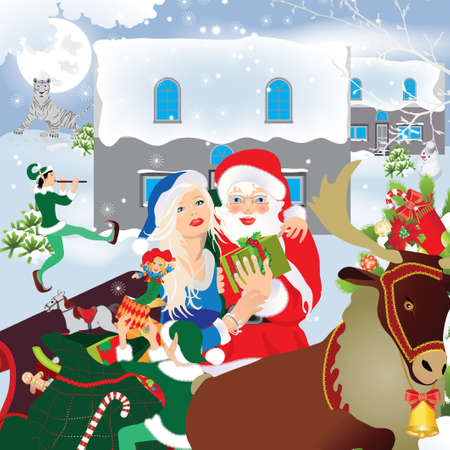 Santa Claus en slee met presenteert. illustratie Stock Illustratie