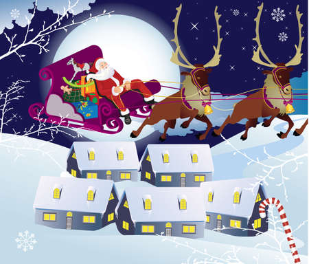 sliding colors: Santa Claus and sledge with presents.  illustration   Illustration
