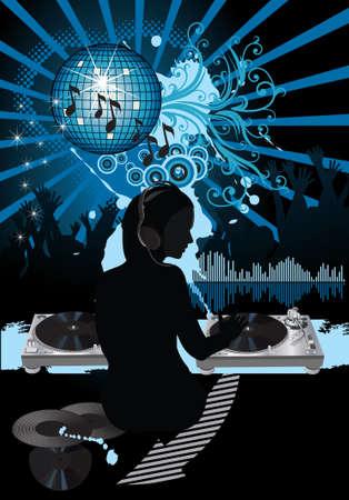 Muziek poster.DJ Stock Illustratie