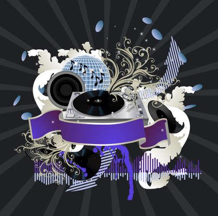 Muziek poster. DJ  Vector Illustratie