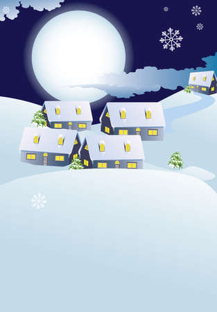 Abstract kerst stad en maan in sneeuw-drift winter landschap, vector illustratie