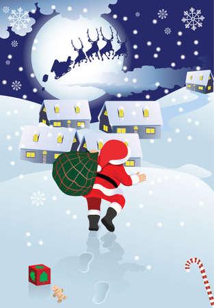 swoop: Santa Claus y trineo con regalos, la ciudad de Navidad y la Luna en el paisaje invernal de deriva de la nieve, ilustraci�n