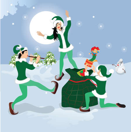 dancing elf with Christmas gifts Vector