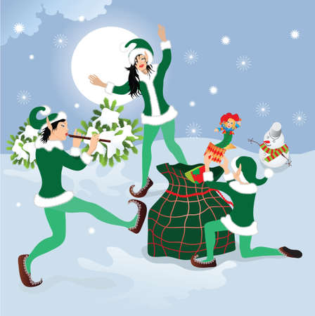 dancing elf with Christmas gifts Stock Vector - 7454336