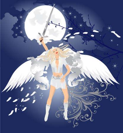 mooie engel met magische zwaard