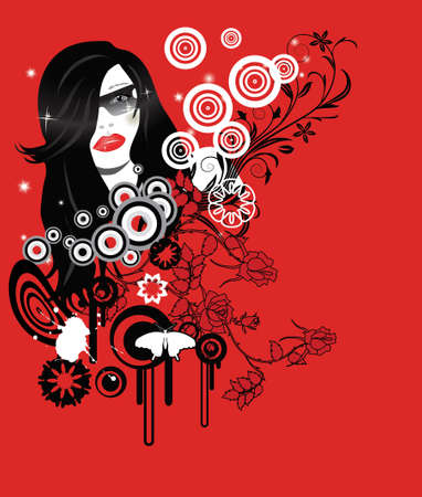 abstract glamour party girl with place for your text Illustration