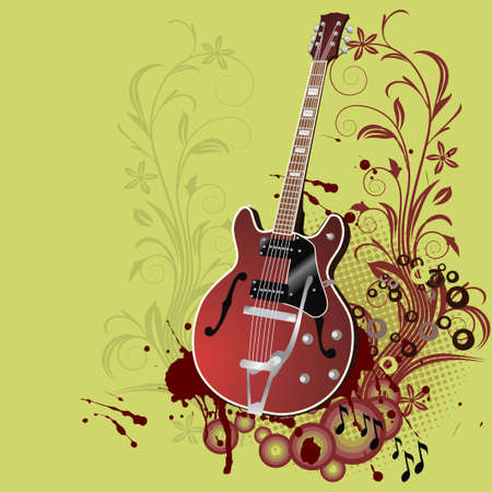 Abstract floral grunge guitar,background Vector