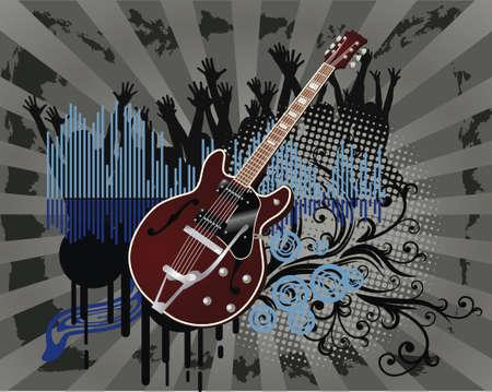 Résumé grunge floral guitare, arrière-plan