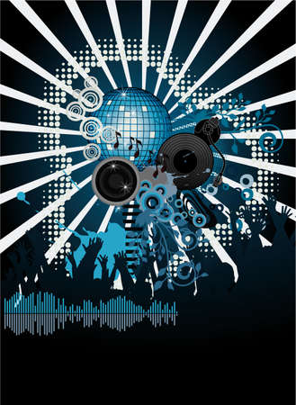 Abstract party poster with DJ turntable Stock Vector - 7462543
