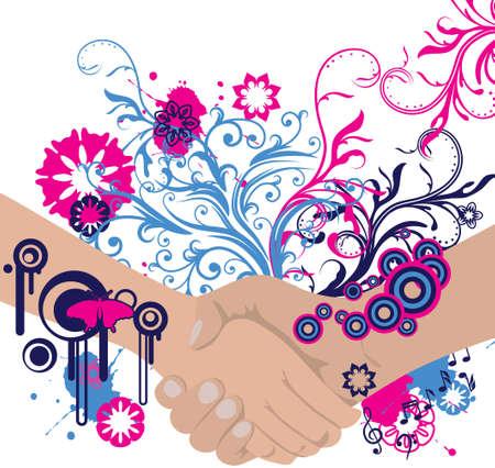 business meeting asian: Abstract handshake floral avec place pour votre texte