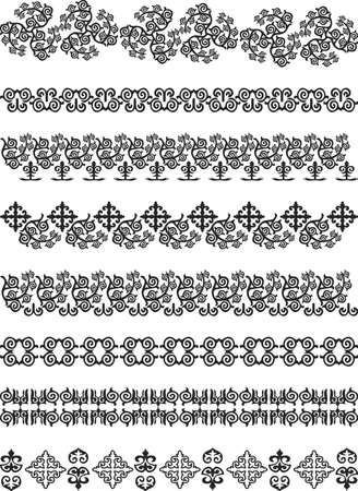 kazakhstan traditional embroidery.  illustration.