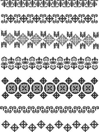 カザフスタンの伝統的な刺繍。イラスト。  イラスト・ベクター素材