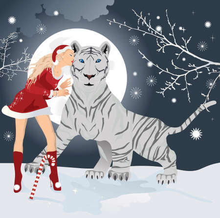 White Bengal tiger, symbol of new 2010 year with Christmas santa girl Stock Vector - 7454259