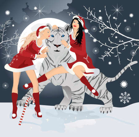 White Bengal tiger, symbol of new 2010 year with Christmas santa girl