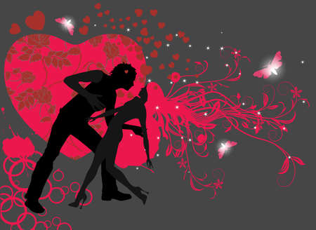 Couple in love dancing Stock Illustratie
